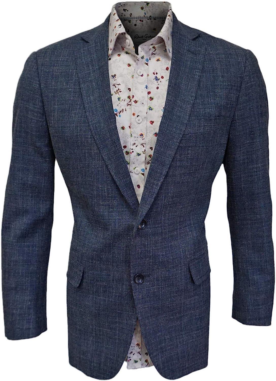 Mantoni Blue Virgin Wool Blazer, Two Button, Single Breasted