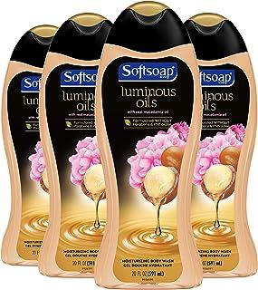 Softsoap Luminous Oils Moisturizing Body Wash, Macadamia Oil and Peony - 20 Fluid Ounce (4 Pack)