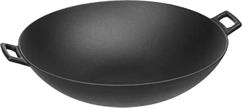 AmazonBasics Pre-Seasoned Cast Iron Wok Pan