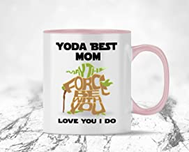 Yoda Best Mom Coffee Mug for Mom from Son, from Daughter, from Husband, Novelty Gift Mugs for Star Wars Fans – Mom Birthday, Mothers Day, Anniversary Present 11 oz - 15oz Funny Coffee Cup