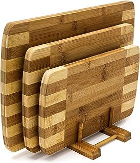 Relaxdays Conjunto de 3 Tablas de Cortar y un Soporte, bambú, Diferentes tamaños, diseño Moderno, fácil de Limpiar, Color Natural, marrón Claro, 1,5 x 25,5 x 39 cm