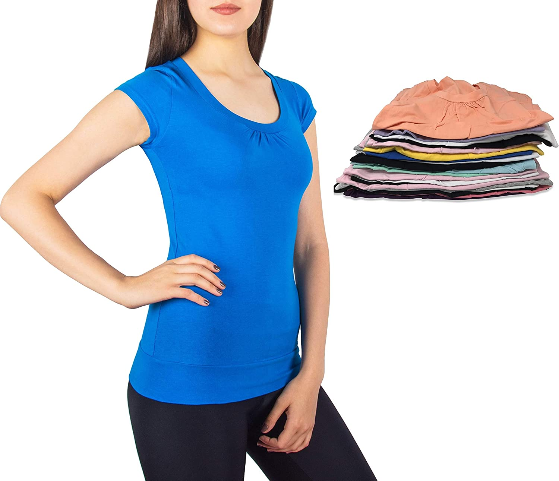 A Scott Sexy Basics Women's 2 pack Round Neck Cotton Spandex Short Sleeve T SHIRT