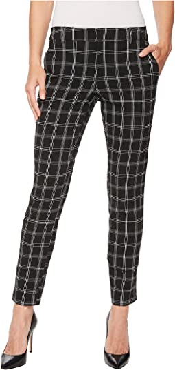 Liverpool - Kelsey Straight Leg Trousers in Novelty Windowpane Print in Black Windowpane