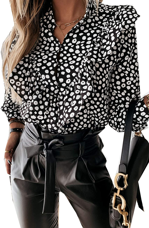 Murimia Women's Tops Casual Floral Print Ruffle Sleeve Loose Babydoll Shirt Blouse Tunic