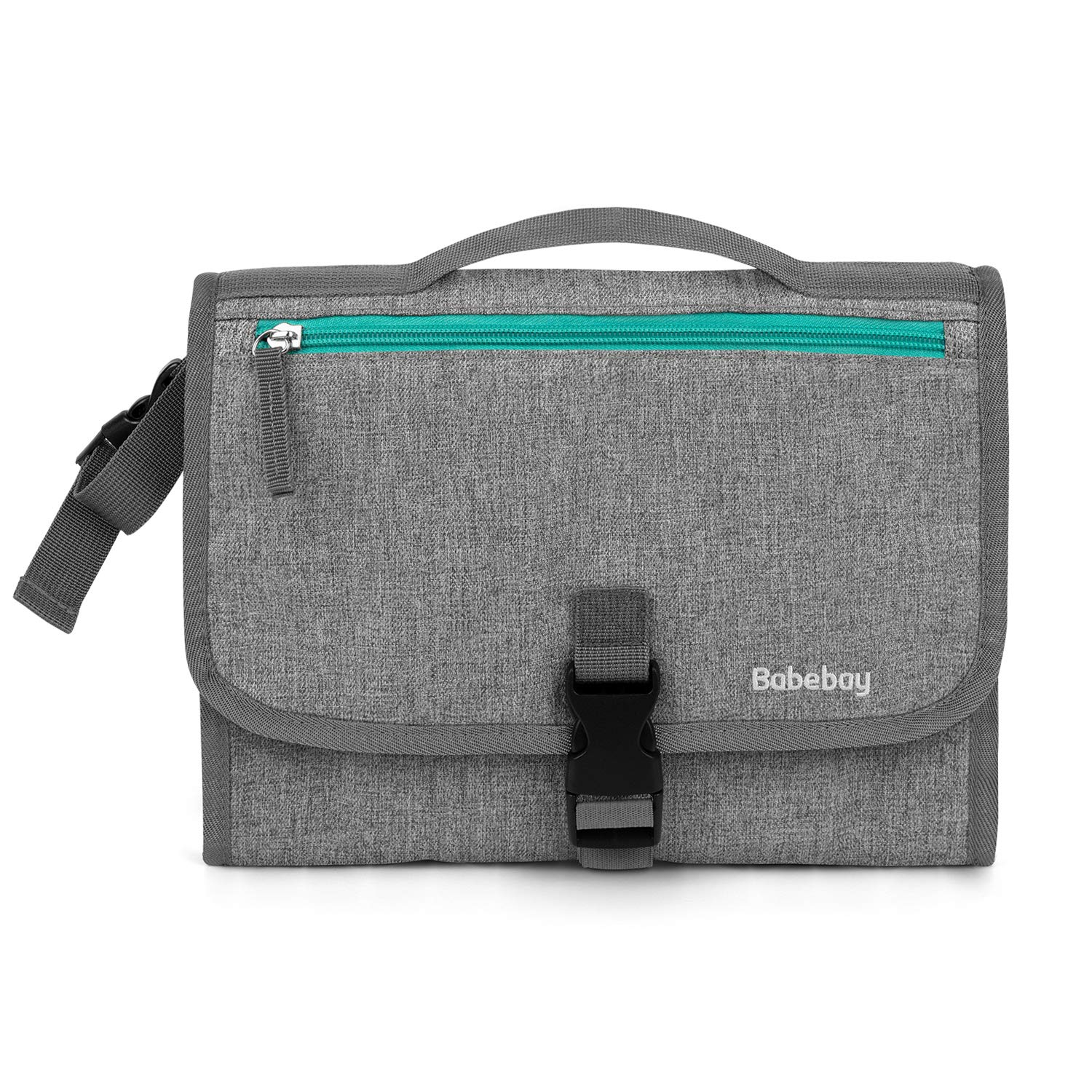 Babebay Portable Diaper Changing Pad, Portable Changing Pad with Built-in Head Cushion - Baby Changing Pad with Wipes Pocket, Waterproof Travel Changing Station Kit for Newborn Boy & Girl