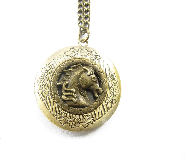 Bronze Horse Head Locket, Brass Locket Necklace, Secret Locket, Antique Lucky Horse Locket, Equestrian