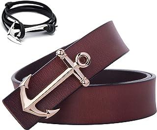 حزام جلدي بمشبك بنمط بحري للرجال من Matthew (سوار مرساة هدية)