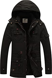 WenVen Men`s Winter Thicken Cotton Parka Jacket Warm Coat with Removable Hood