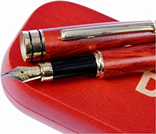 Dryden Luxury Rosewood Fountain Pen with Gift Case - Handcrafted - Executive Fountain Pens Set - Vintage Pens Collection - Business and Antique Gift Pen - Calligraphy - Ink Refill Converter