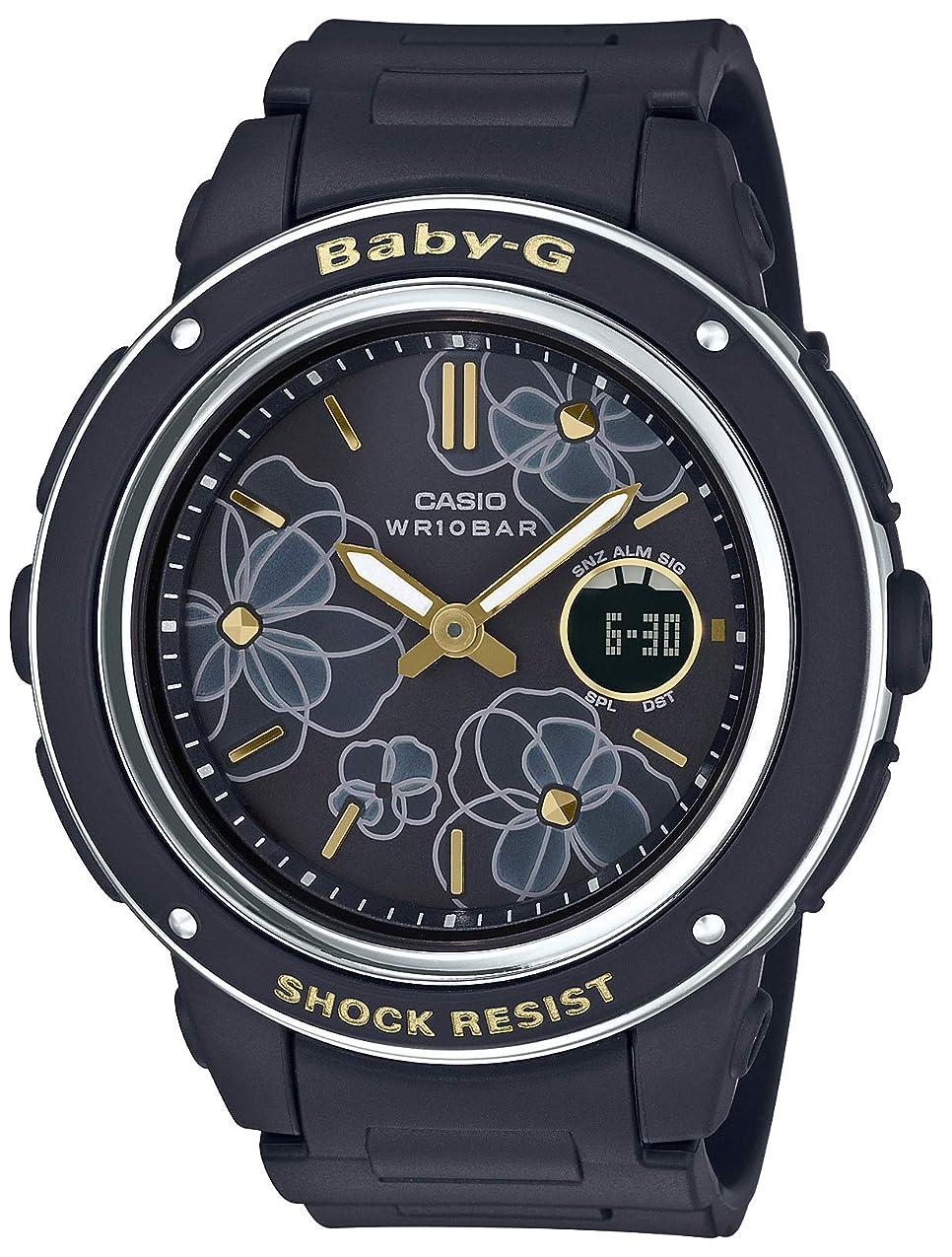 子孫ストライプ確かめる[カシオ] 腕時計 ベビージー Floral Dial Series BGA-150FL-1AJF レディース ブラック