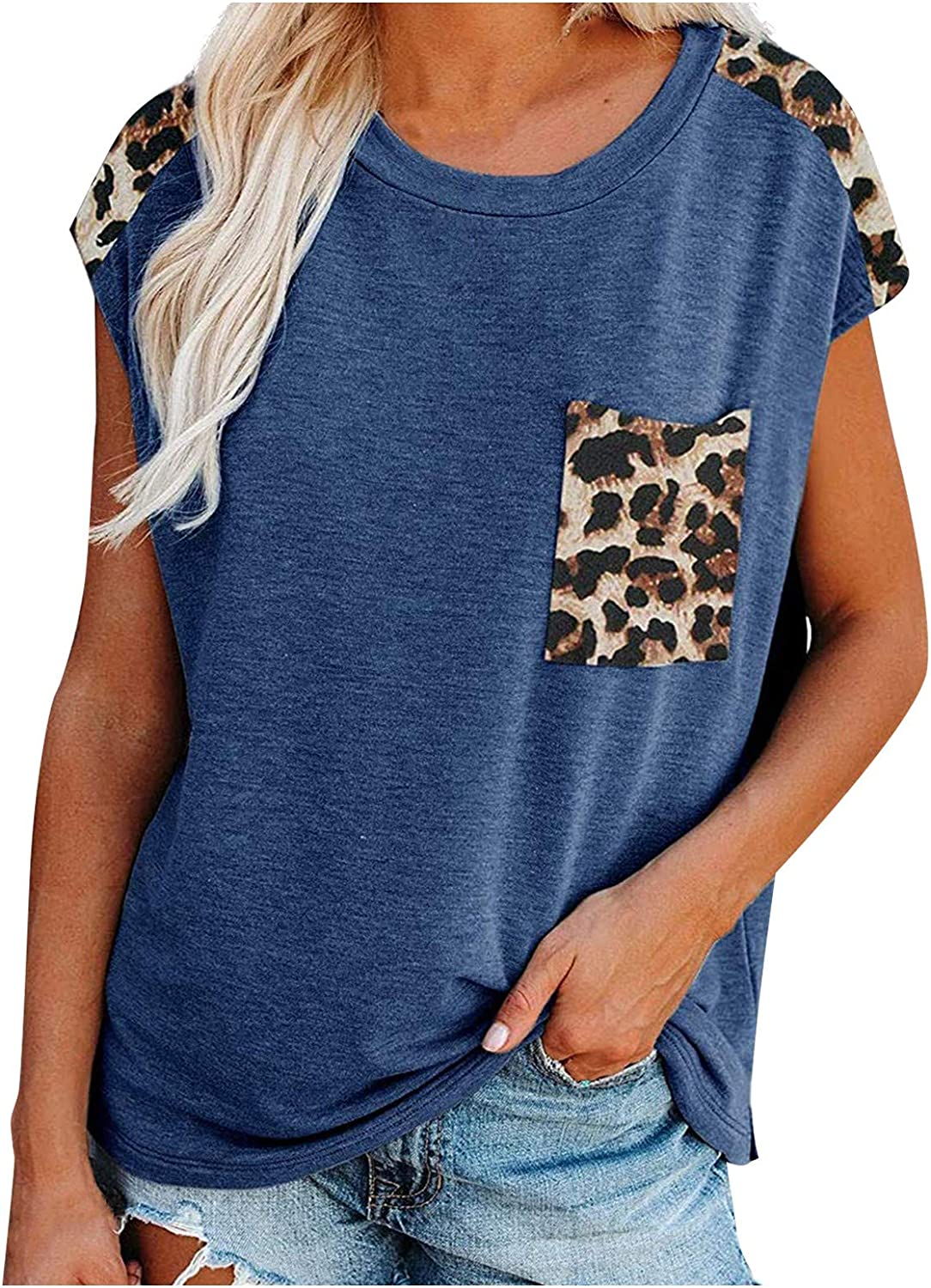 BEIBEIA Womens Short Sleeve Tops,Womens Loose T-Shirts Casual Leopard Short Sleeves O-Neck Blouse Tops Funny Shirts