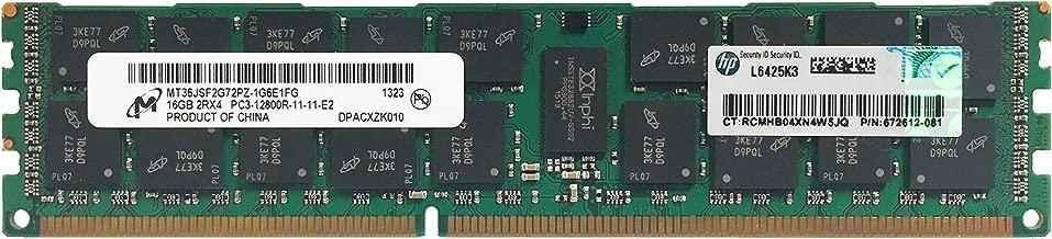 HP Genuine Micron Original 16GB (1x16GB) Server Memory Upgrade for HP Proliant Gen8 Servers 672612-081 DDR3 1600Mhz PC3-12800 ECC Registered 2Rx4 CL11 1.5v DRAM RAM