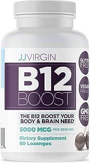 JJ Virgin B12 Boost Lozenges - High Dose Vitamin B-12 with Natural Black Cherry Flavor, Sublingual B12 (60 Lozenges)