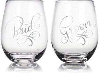 Bride & Groom 22 oz Stemless Wine Glasses Set of 2, Gift for Wedding Married Couple, for Engagement Gifts …