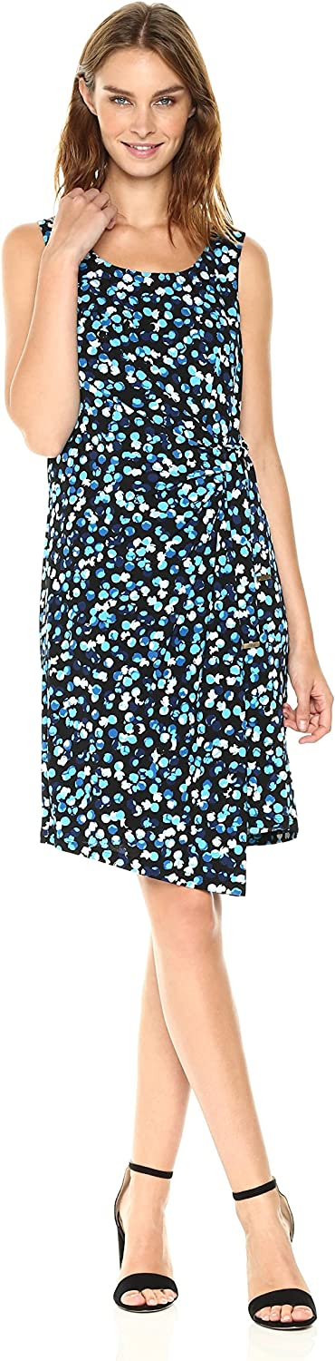 Jones New York Womens Cold Shouldr Print Side Tie Drape Dress