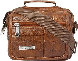 Handcuffs Mens Bag Messenger Bag Leather Shoulder Bags Travel Bag Man Purse Crossbody Bags for Work Business - 10 Inch