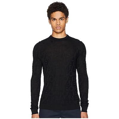 Emporio Armani Striped Pullover Sweater (Black) Men