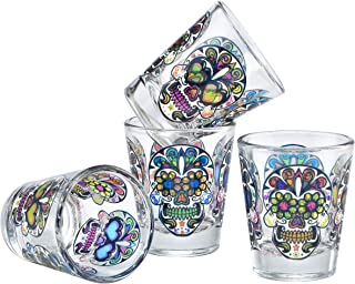 Culver Sugar Skulls Decorated Shot Glasses, 1.75-Ounce, Set of 4