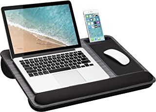 LapGear Home Office Pro Lap Desk with Wrist Rest, Mouse Pad, and Phone Holder - Fits Up To 15.6 Inch Laptops - Gray Woodgr...