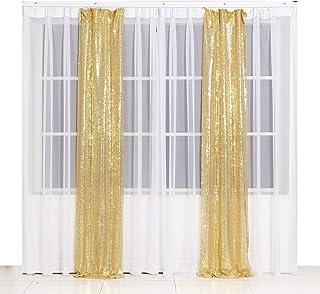 Poise3EHome Pailletten Fotografie Vorhang, 60 x 240 cm, 2 Paneele für Party Dekoration, goldfarben