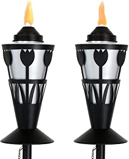Sunnydaze Metal Outdoor Torch with Tulip Design, Steel Patio Citronella Torches, Includes Snuffer, 24- to 66-Inch Adjustable Height, Set of 2, Black/Silver