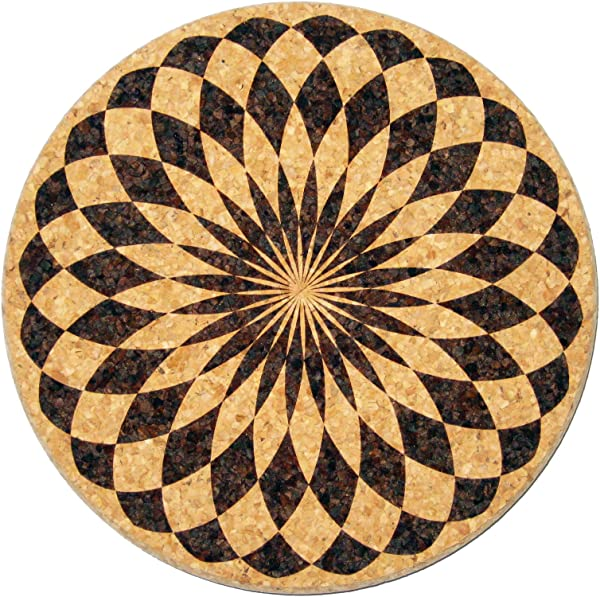 XL Coasters Harlequin Rosette 6 Inch Set Of 2 Oversized Cork Absorbent Drink Coasters