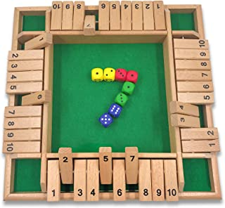 Mimgo-shop Shut The Box Dice Game 4 Sided Wooden Board Game Set with 8 Dice for 2 to 4 Players Family Version Large Size