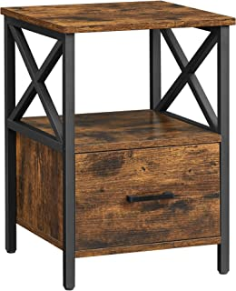 VASAGLE Table de Chevet, Table de Nuit, Table d'appoint, avec Compartiment Ouvert, tiroir, 40 x 40 x 55 cm, Marron Rustiqu...