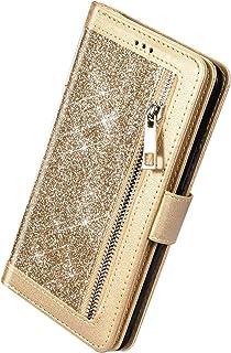 Herbests Kompatibel med Huawei Mate 30 Lite mobilfodral glitter bling glänsande plånbok fodral multifunktionell dragkedja ...