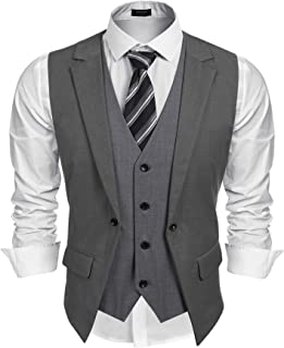Coofandy Mens Formal Fashion Layered Vest Waistcoat Dress Suit Vests