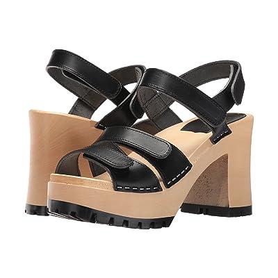Swedish Hasbeens Velcra (Black) High Heels