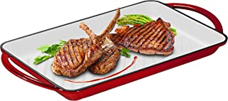 """Enameled Cast-Iron Rectangular Grill Pan, Loop Handles, 9.5"""" x 13.5"""" Fire Red (Fire Red)"""