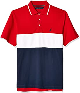 Men's Short Sleeve 100% Cotton Pique Color Block Polo Shirt