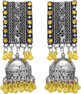Subharpit Orange Beads Oxidized Silver Metal Traditional Indian Dangle Earring for Women /& Girls