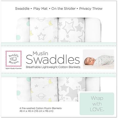 SwaddleDesigns Cotton Muslin Swaddle Blankets, Set of 4, Goodnight Starshine , 46x46 Inch