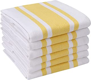 Heavy Duty Oversized Kitchen Towels & Dishcloth (Set of 6 Yellow 18x28) Highly Absorbent, Professional Grade Cotton Tea Towels for Everyday Cooking and Baking- Modern Clean Striped Pattern