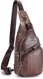 Men's Shoulder Bag, Popoti Sling Bag Leather Backpack Chest Bag Daypack Handbag Sports Bags Crossbody Outdoor Hiking Travel Messenger Bag (Coffee 2)