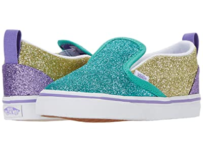 Vans Kids Slip-On V (Infant/Toddler) ((Mermaid Glitter) Color-Block) Girls Shoes