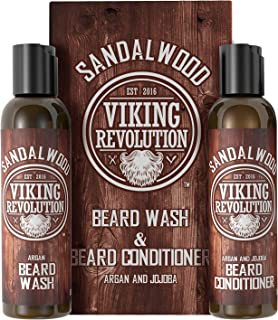 Beard Wash & Beard Conditioner Set w/Argan & Jojoba Oils - Softens & Strengthens - Natural Sandalwood Scent - Beard Shampo...