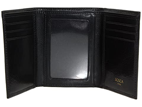 Monedero Leather Bosca tríptico negro cuero Collection de Old C6C5qgt