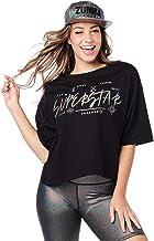 ZUMBA ズンバ メタリックロゴ ワイドシルエット クロップ Tシャツ BLACK