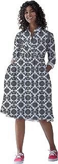 RADANYA Women's Cotton Long Sleeve Dresses Casual Swing Dress with Pockets