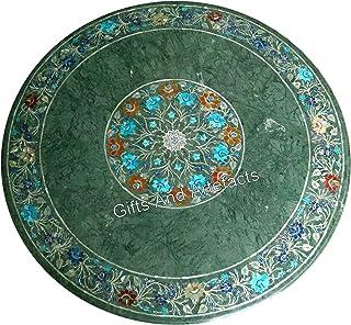 Table de salle à manger ronde en marbre vert avec cornaline - 76,2 cm