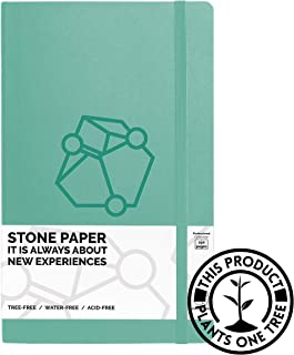 Pictostone Ruled (Lined) Professional Stone Paper Notebook, Glacier Green Hardcover with Leather Feel- Size 5