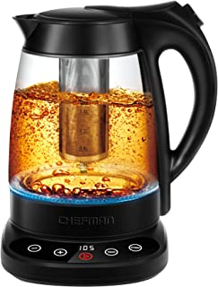 Chefman Programmable Electric Kettle Digital Display Removable Tea Infuser Included, Cool Touch Handle, 360° Swivel Base, BPA Free, 1.7 Liter/1.8 Quart