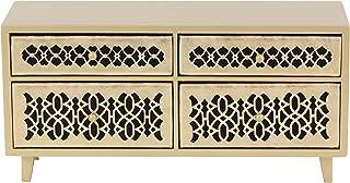 Deco 79 82181 木 4 抽屉首饰柜,17.78 cm x 38.10 cm,金色/黑色