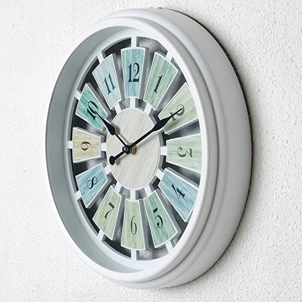 Tiords Decorative White 12 Analog Quarts Farmhouse Living Room Wall Clocks Battery Operated For Kitchen Office Decor Walls