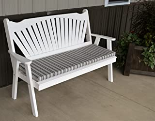 Best Garden Bench, 5' Fanback Porch Benches for Outdoor Entertaining, Designer Patio Lanai Seating Living Furnishings, USA Amish Made for Deck, Pergola and Pool Furniture, 9 Fun Colors
