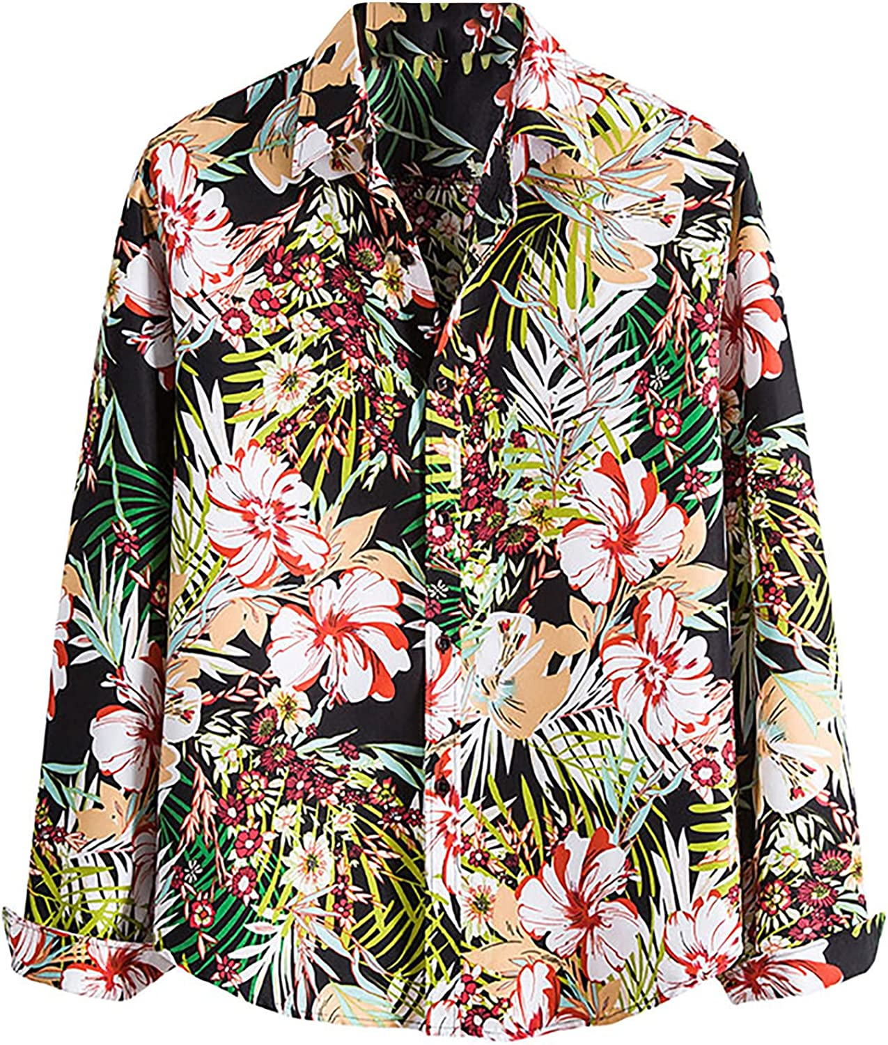 Men's Stylish Floral Shirts Casual Long Sleeve Flower Printed Button Down Aloha Shirt