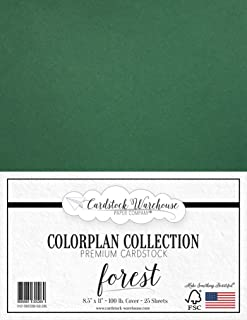 Forest Green Cardstock Paper - 8.5 x 11 inch Premium 100 lb. Cover - 25 Sheets from Cardstock Warehouse
